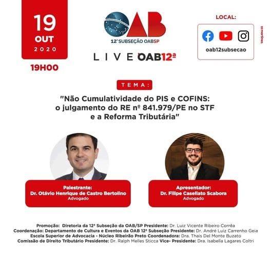 AASP 1 - Sócio do PSAA debate a não cumulatividade do PIS e COFINS em evento on-line promovido pela 12ª Subseção da OAB/SP